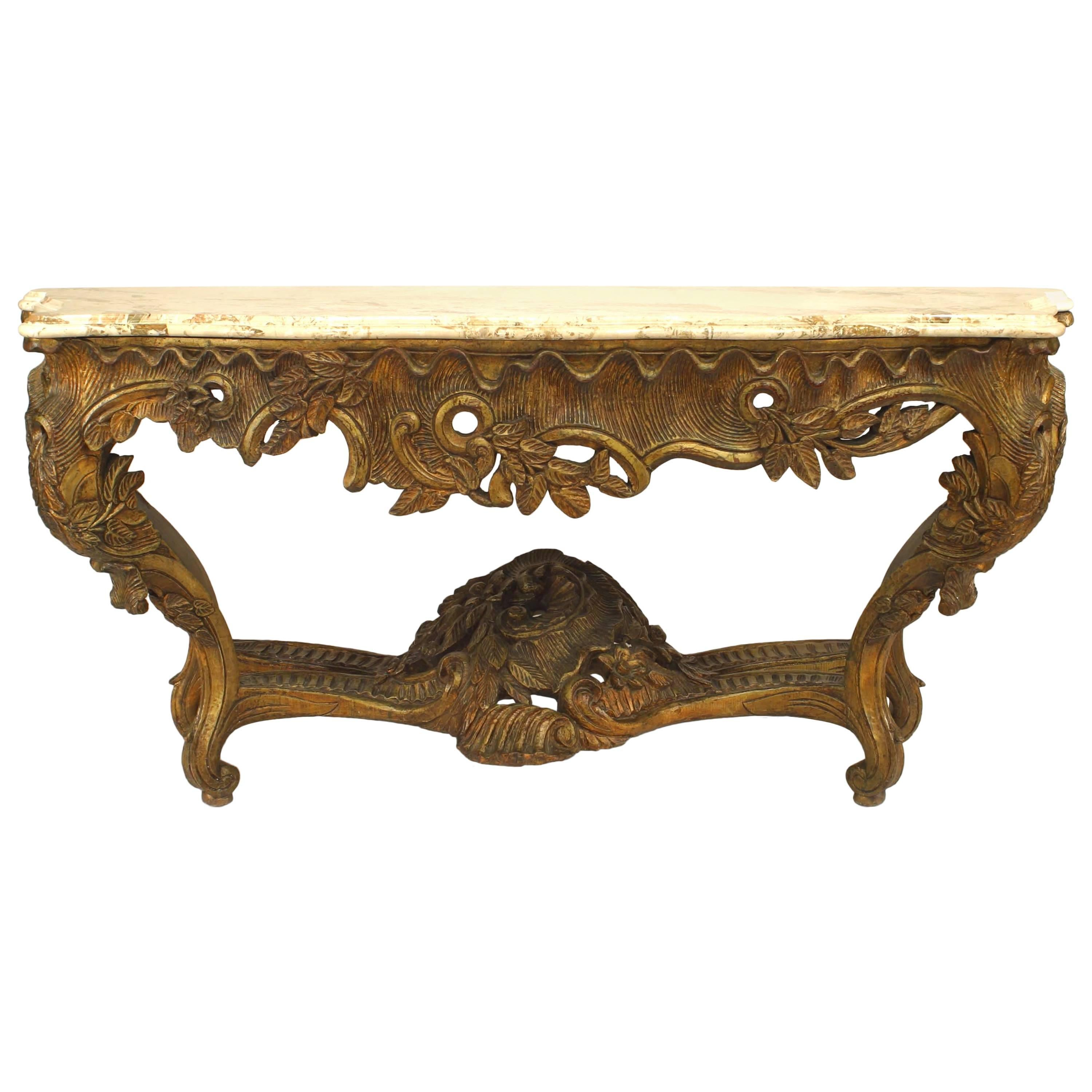 French Louis XV Style Giltwood Marble Top Console Table