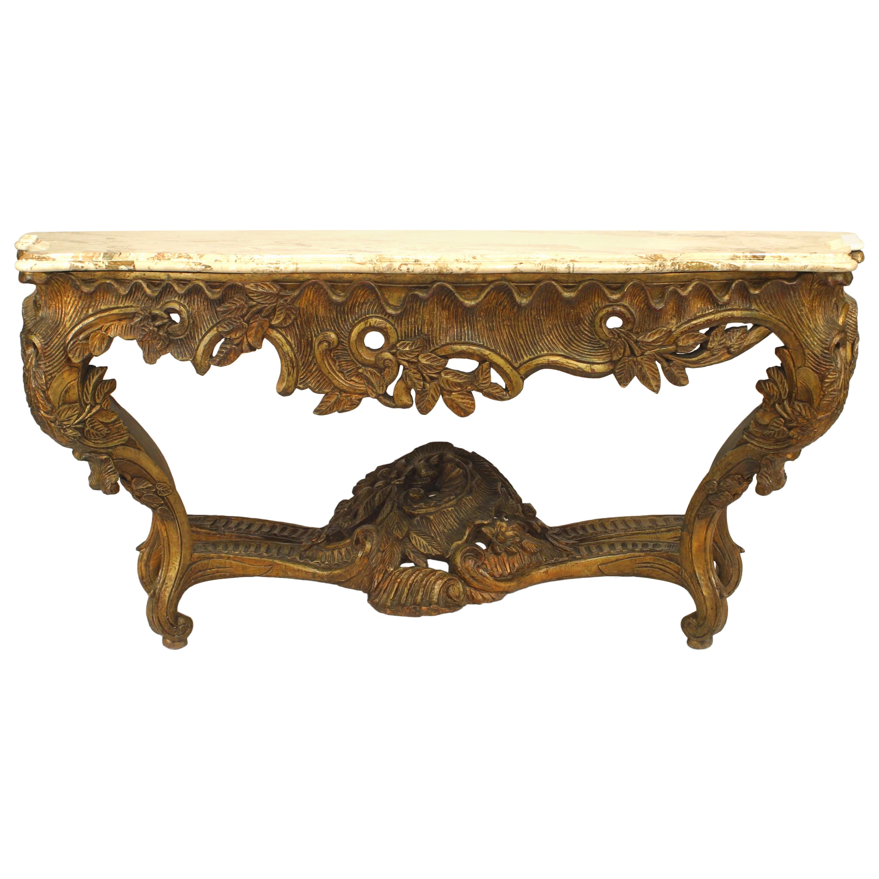 French Louis XV Style 'Modern' Giltwood Console Table