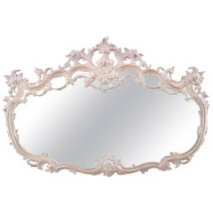 French Louis XV Style Bleached Carved Open Design Horizontal Wall Mirror