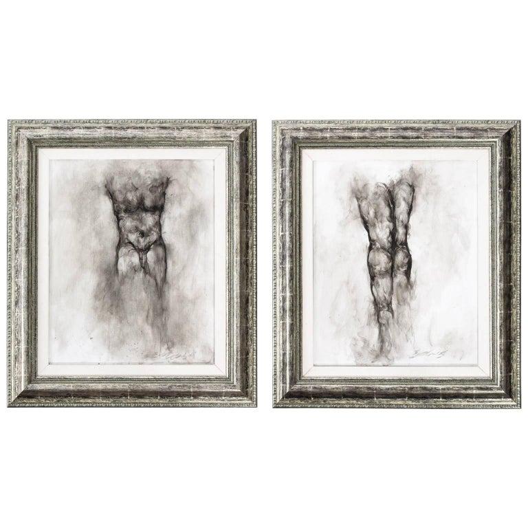 Pair of Male Nude Drawings by Ed Eller