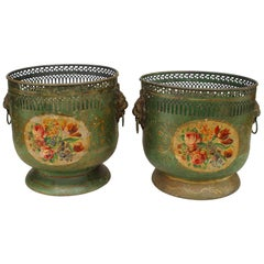Pair of French Victorian Green Tole Cachepots
