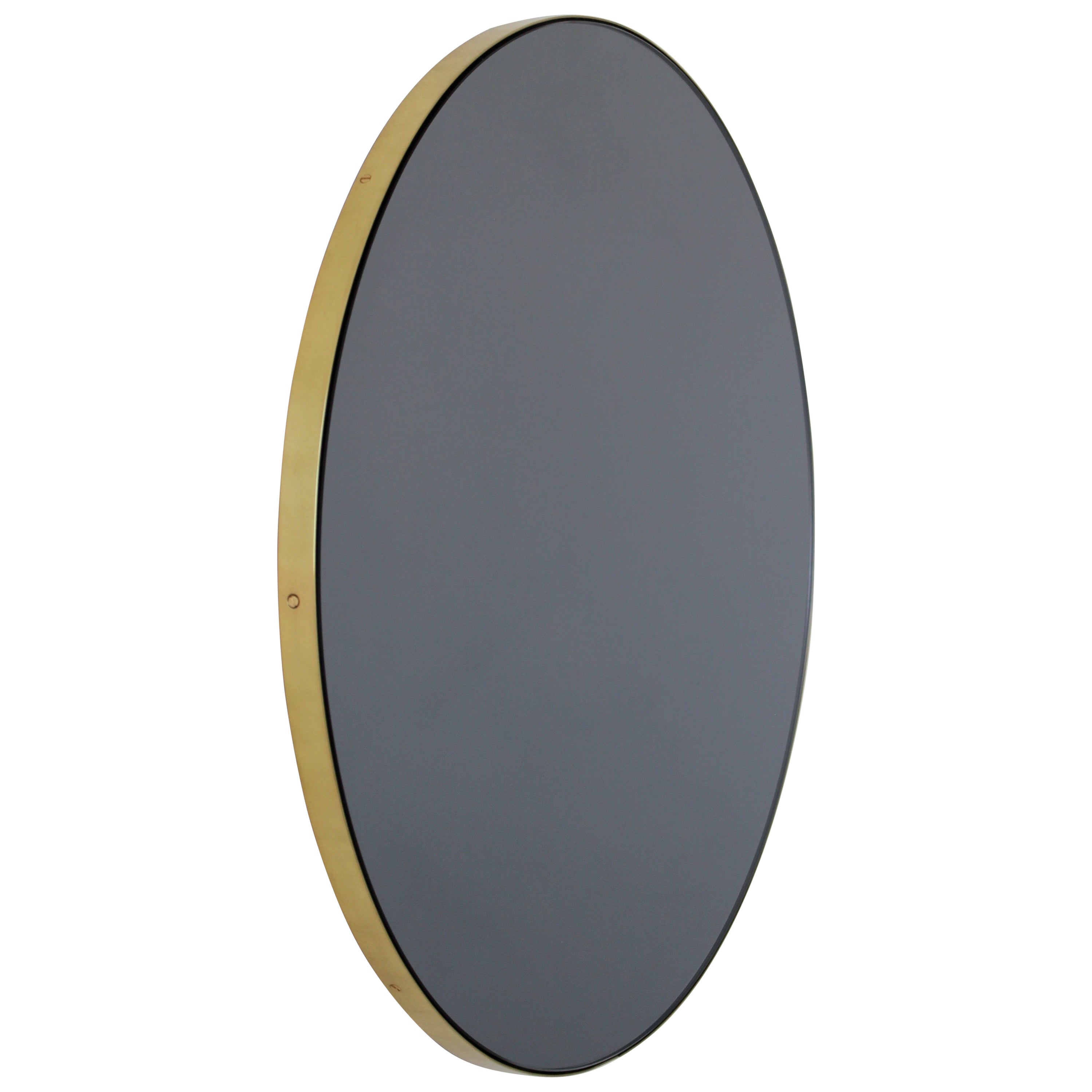 Orbis™ Black Tinted Round Elegant Mirror with a Brass Frame - Small