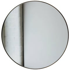Silver Orbis Round Mirror with Polished Brass Frame - Dia. 40cm
