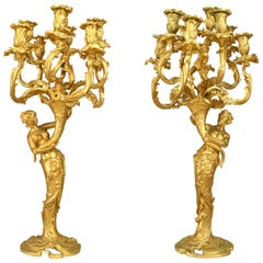 Pair of French Louis XV Style Bacchus and Bacchante Nine-Arm Candelabra