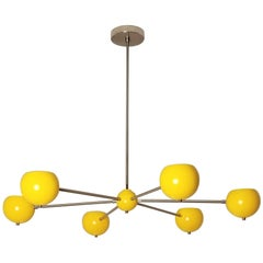 Model 320 Nickel + Yellow Enamel Chandelier by Blueprint Lighting, NYC
