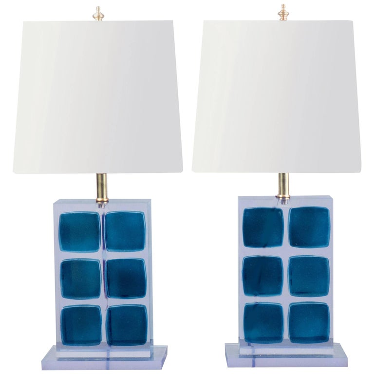 Pair of Resin Table Lamps, Italy, 2017