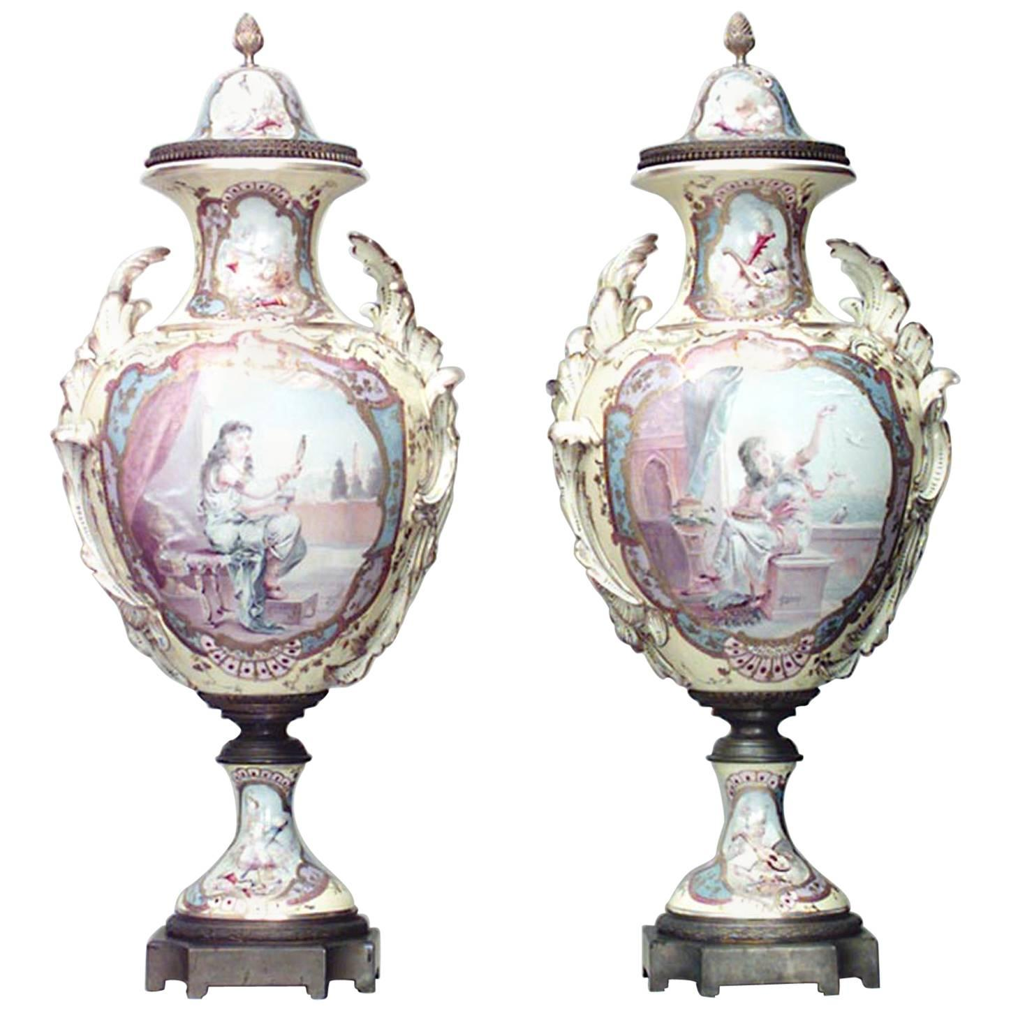 Pair of French Victorian Yellow Sevres Porcelain Vases