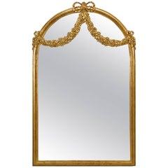 French Louis XVI Style 'Modern' Gilt Wall Mirror