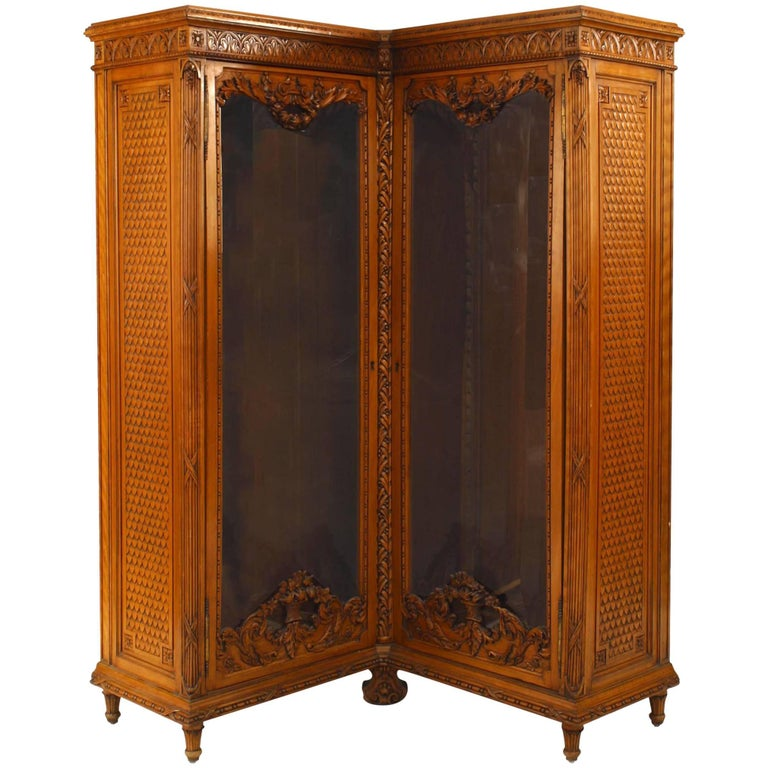 French Victorian Walnut Carved Corner Cabinet