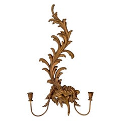 Large Vintage Wall Sconce, 20th Century Rococo Revival, Girandole, Candle Stand