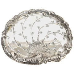 Austrian Silver Swirled and Scalloped Tray with Raised Engraving