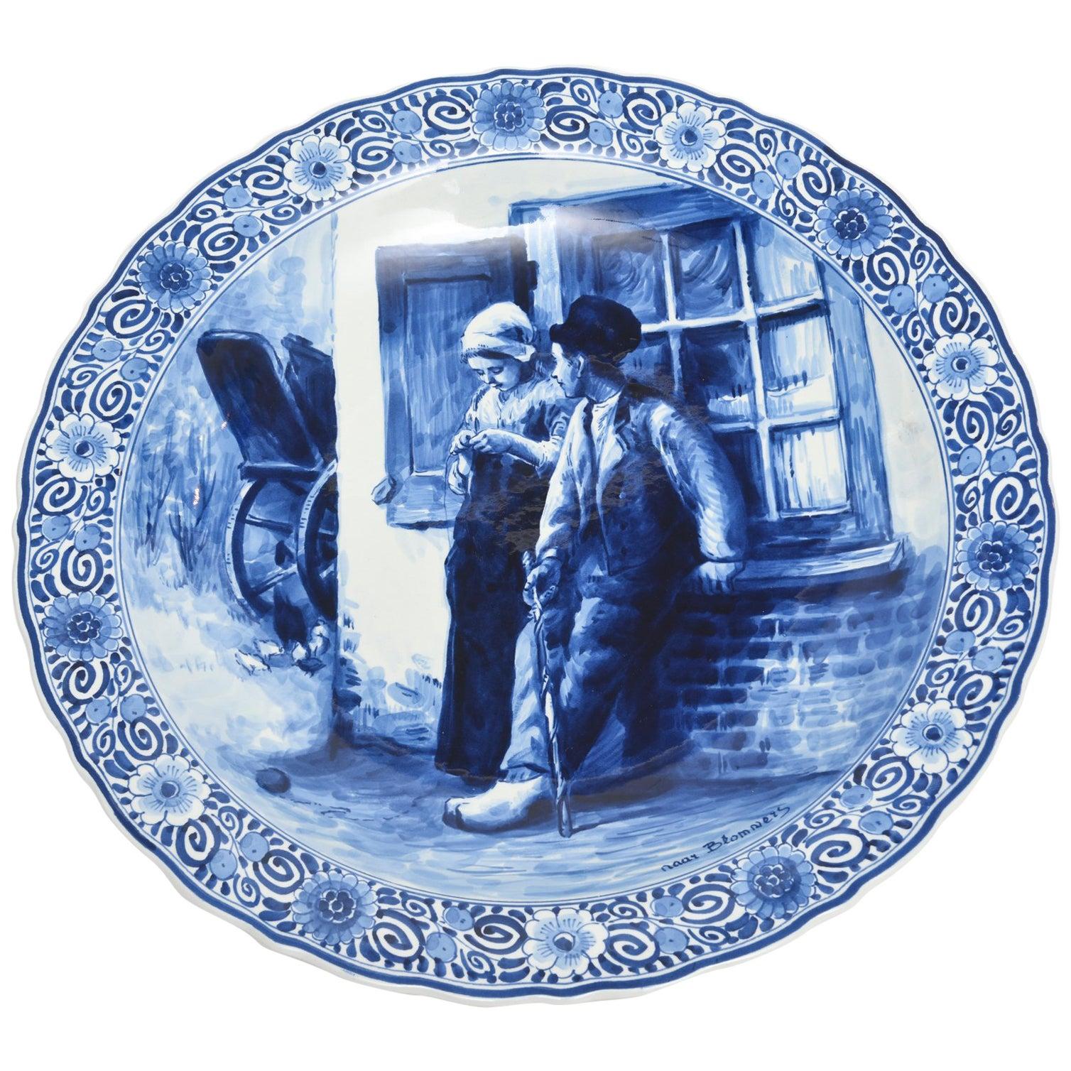 Huge Royal Delft De Porceleyne Fles Blue and White Bloomers Charger Plate Plaque