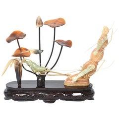 20th Century Chinese Carved Serpentine Shrimp Prawn with Horn Underwater Scene