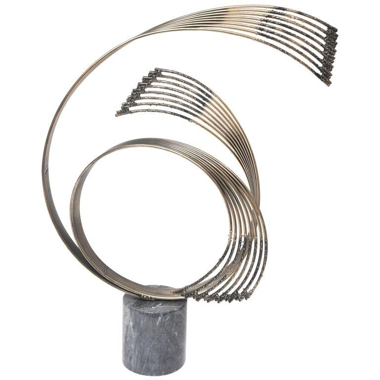 Modernist Curtis Jere, Abstract Windswept Brass Sculpture