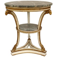 French Louis XVI Style Painted and Gilt Trim Round Gueridon Table