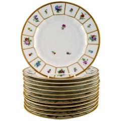 12 Royal Copenhagen Henriette, Hand-Painted Porcelain Henriette Lunch Plates