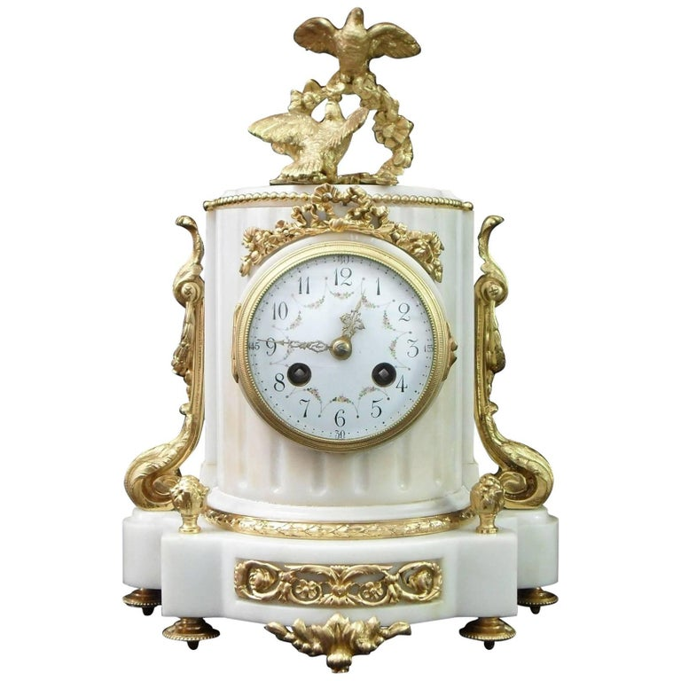 French 19th Century Louis XVI Style Marble and Bronze Gilt Mantel Clock
