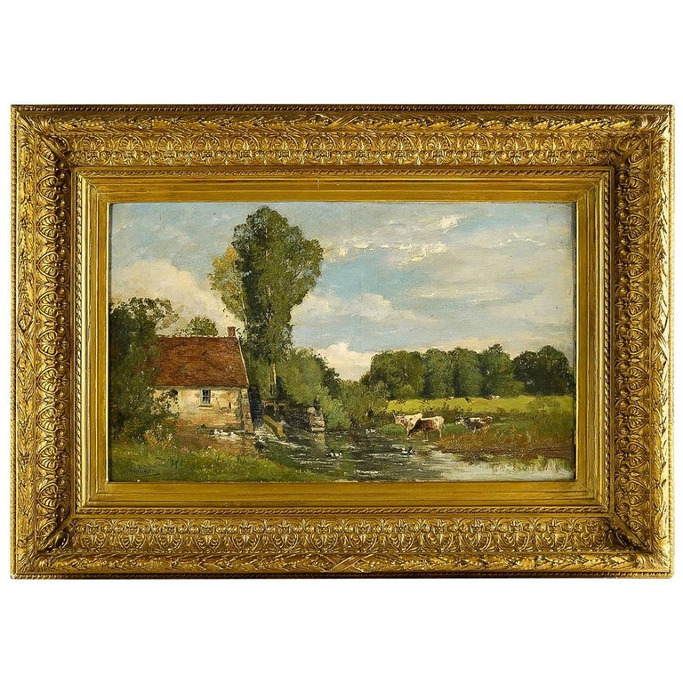 Brielman Jacques Alfred, Old Mill by a River, Oil on Canvas, circa 1860-1870 For Sale