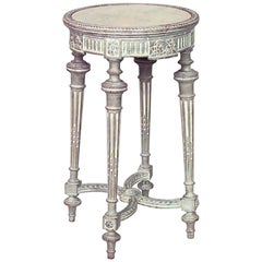 French Louis XVI Style Bleached Round End Table