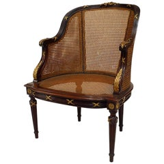 French Louis XVI Style Ormolu-Mounted Mahogany Caned Bergere
