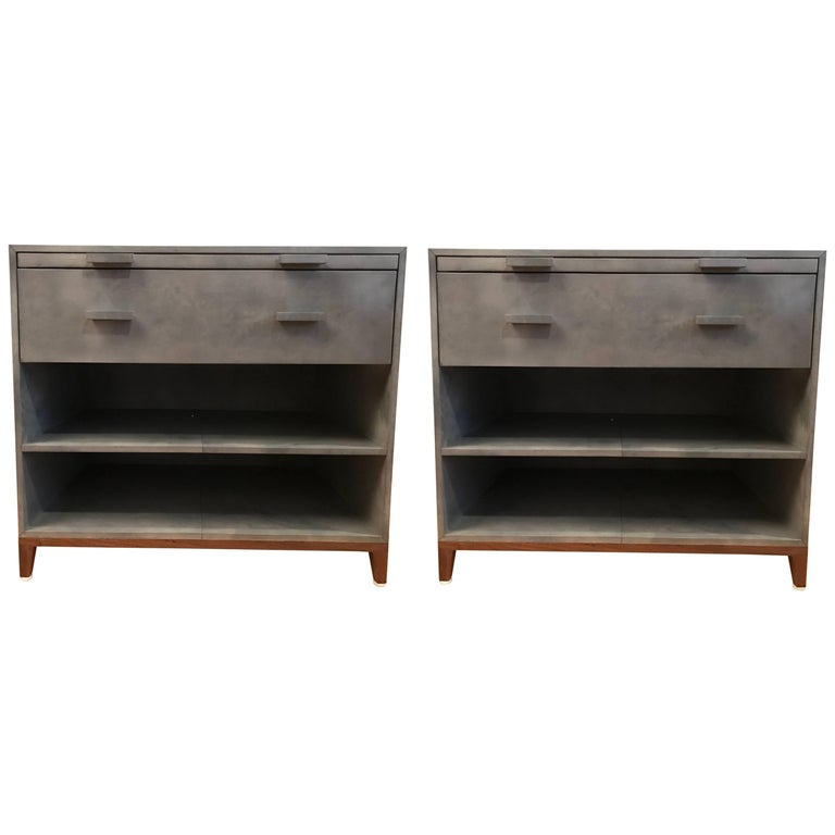 Pair of Parchment Nightstands