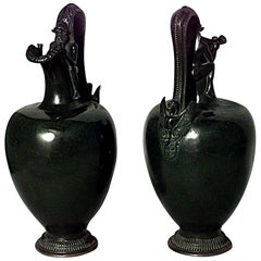 Pair of French Victorian Bronze Pitcher Shaped Vases