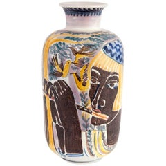 Large Hand Decorated Vase by Carl-Harry Stalhane with Two Women