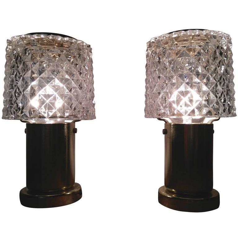 Pair of Glass Kamenický Šenov Lamps