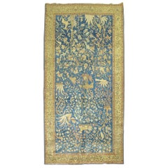 Pictorial Antique Persian Tabriz Carpet in Blue