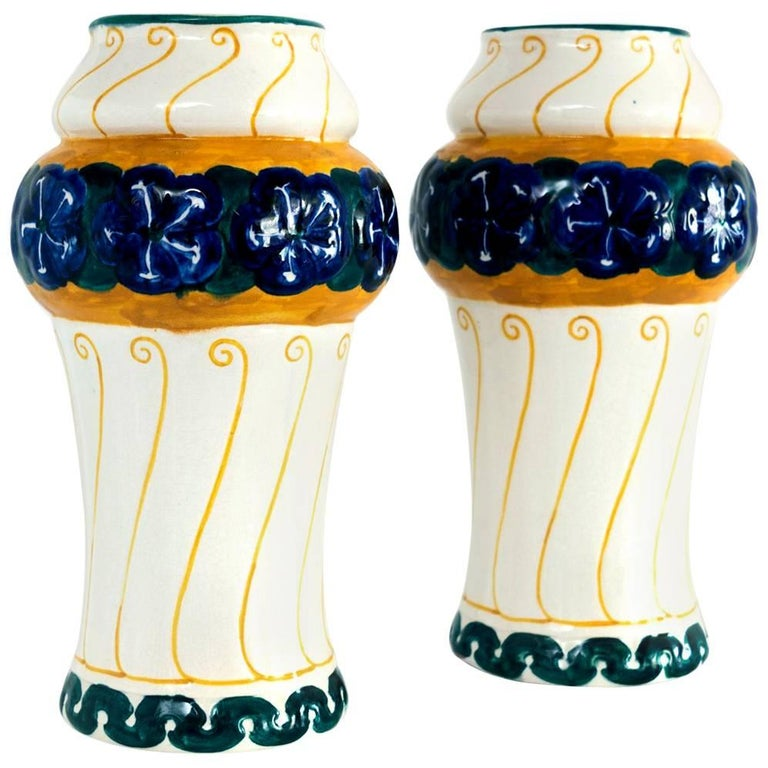 Pair of Swedish Art Nouveau Ceramic Vases Designed Alf Wallander for Rorstrand