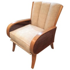 Wonderful Heywood Wakefield Ash, Cane and Upholstered Retro Chair