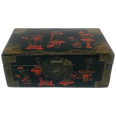 Black and Red Lacquer Asian Box
