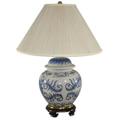 Blue and White Asian Style Ginger Jar Lamp by Frederick Cooper