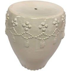 White Ceramic Chinoiserie Garden Stool