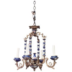 French Louis XV Style Sevres Porcelain and Bronze Chandelier