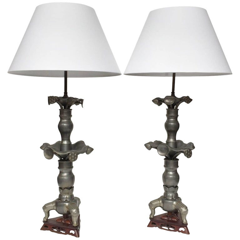 Pair of 19th Century Converted Pewter Vase Lamps in the Style of James Mont