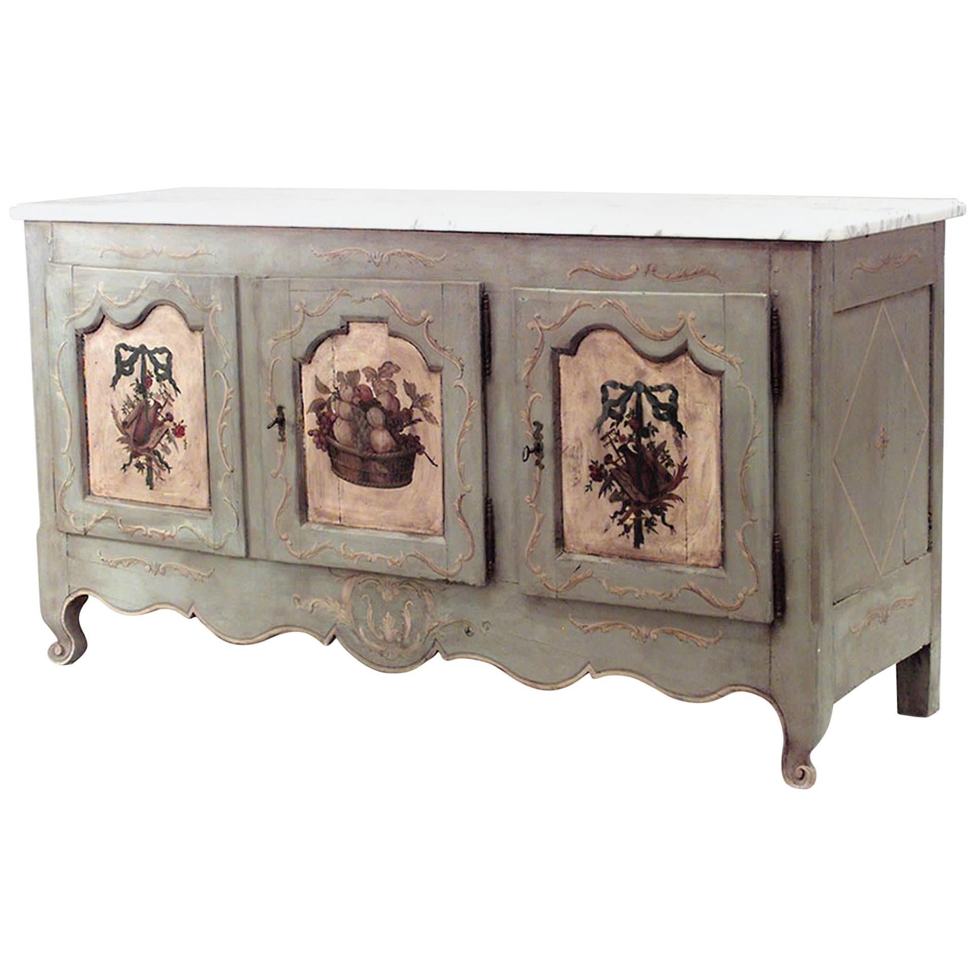 French Provincial Painted & Marble Top Commode