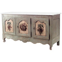 French Provincial '18th-19th Century' Grey Painted Commode