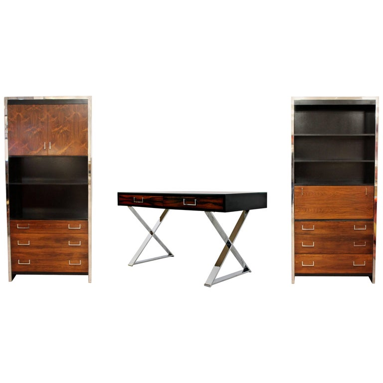 Mid-Century Modern Baughman Pair of Rosewood Cabinets and Campaign X Desk Set