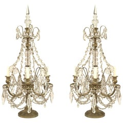 Pair of French Victorian Fluted Bronze and Crystal Four-Arm Candelabra