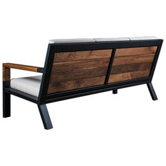 Baltimore Modern Sofa by Ambrozia, Walnut, Black Steel and Beige Upholstery