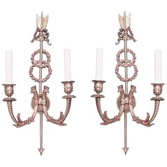 Pair of French Directoire Style Bronze Dore Double Wreath Two-Arm Wall Sconces