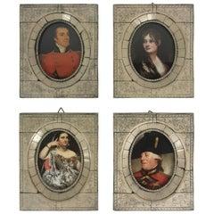 Bone Framed Miniature Aristocratic Portraits, Set of Four