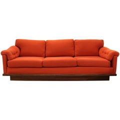 Mid-Century Modern Baughman for James Walnut Plinth Base Three-Seat Sofa Orange