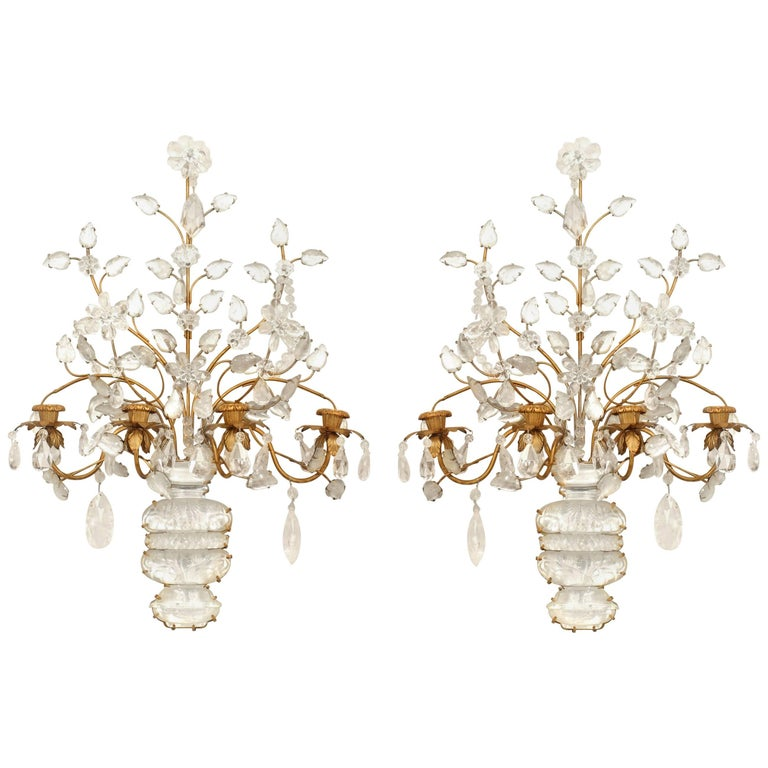 French Art Deco 'Baguès' Gilt Metal and Rock Crystal Four-Arm Wall Sconces, Pair