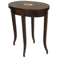 French 1940s Style Faux Tortoise Shell 'Crushed Coconut Shell' Oval End Table