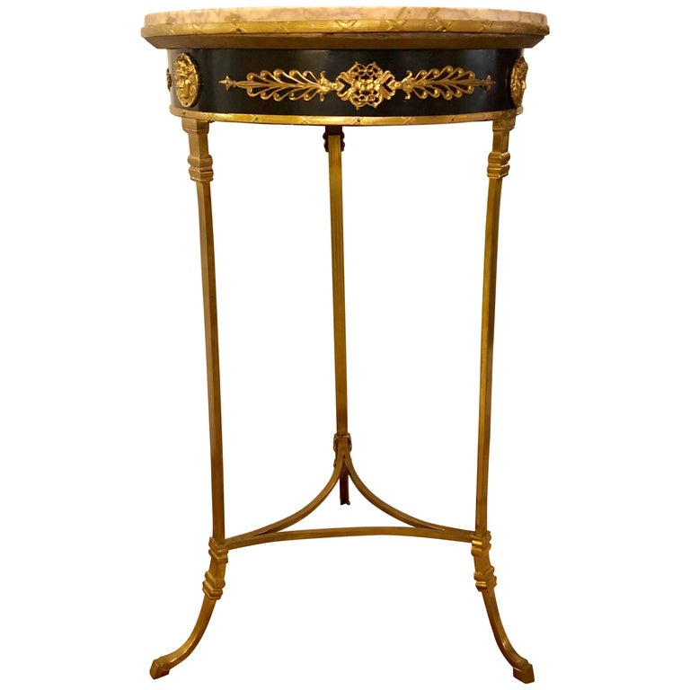 French Gueridon Centre or End Table with a Marble Top and Bronze Mounts