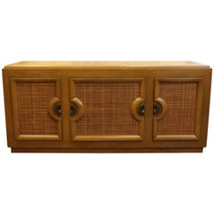 Mid-Century Modern Paul Laszlo Credenza Sideboard Buffet Cane and Wood, 1950s