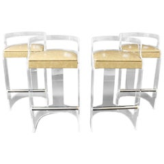 Mid-Century Modern Hill Set of Four Lucite Chrome Beige Leather Bar Stools