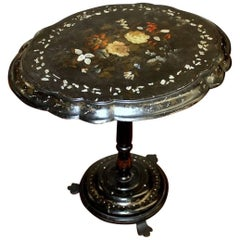 English 19th Century Jennens & Bettridge Inlaid & Painted Papier Mâché Table